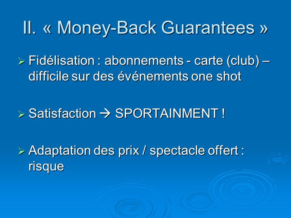 II. « Money-Back Guarantees » Fidélisation : abonnements - carte (club) – difficile sur des événements one shot Fidélisation : abonnements - carte (cl