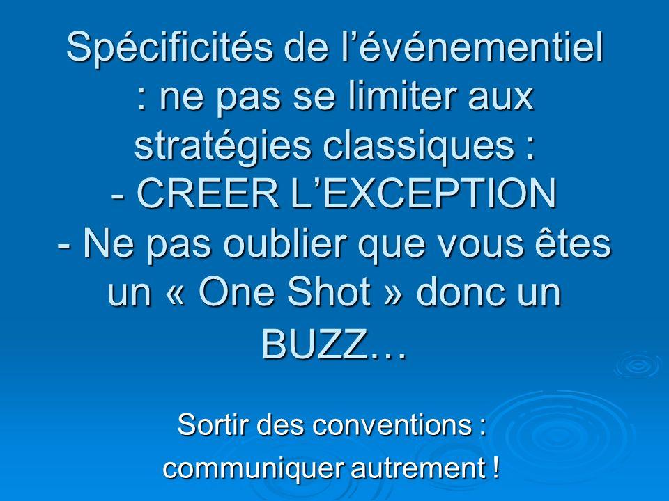 Spécificités de lévénementiel : ne pas se limiter aux stratégies classiques : - CREER LEXCEPTION - Ne pas oublier que vous êtes un « One Shot » donc u