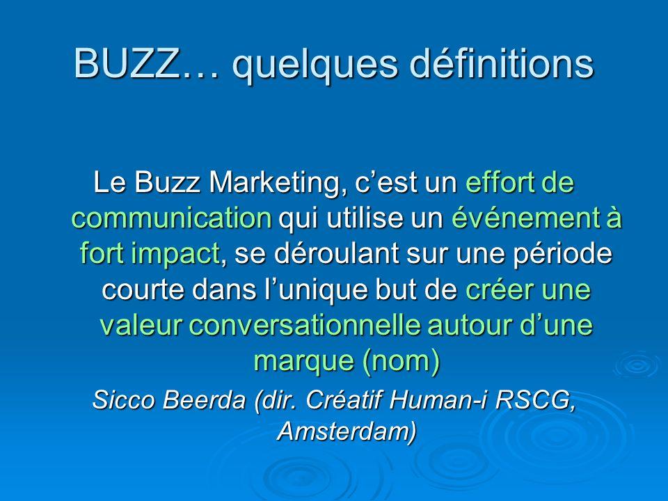 BUZZ… quelques définitions Le Buzz Marketing, cest un effort de communication qui utilise un événement à fort impact, se déroulant sur une période cou