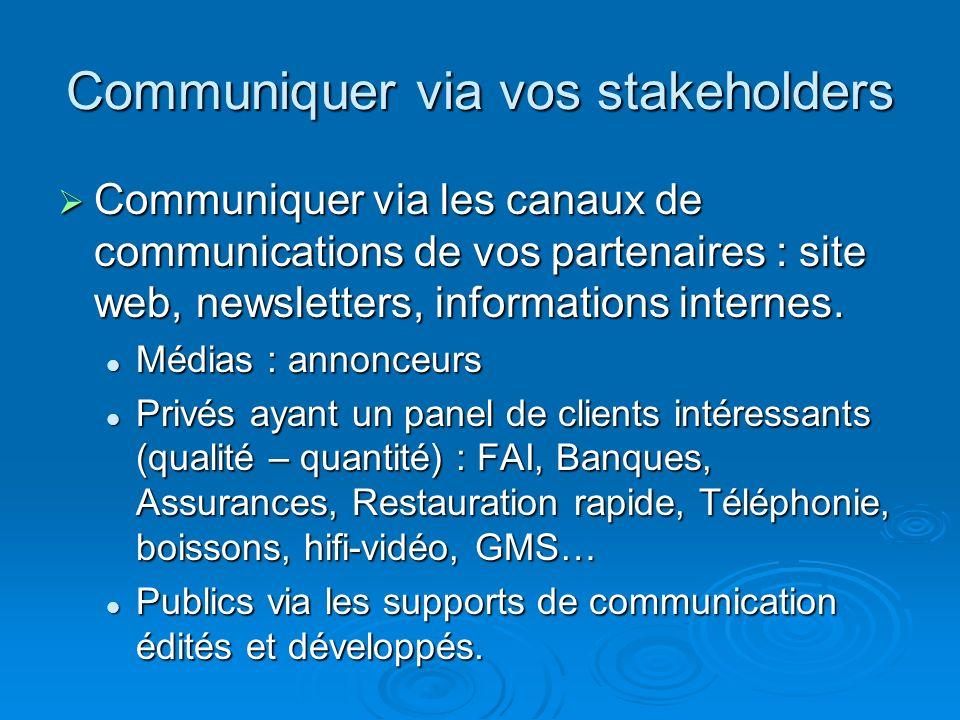 Communiquer via vos stakeholders Communiquer via les canaux de communications de vos partenaires : site web, newsletters, informations internes. Commu