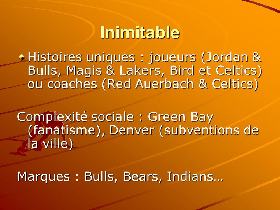 Inimitable Histoires uniques : joueurs (Jordan & Bulls, Magis & Lakers, Bird et Celtics) ou coaches (Red Auerbach & Celtics) Complexité sociale : Gree