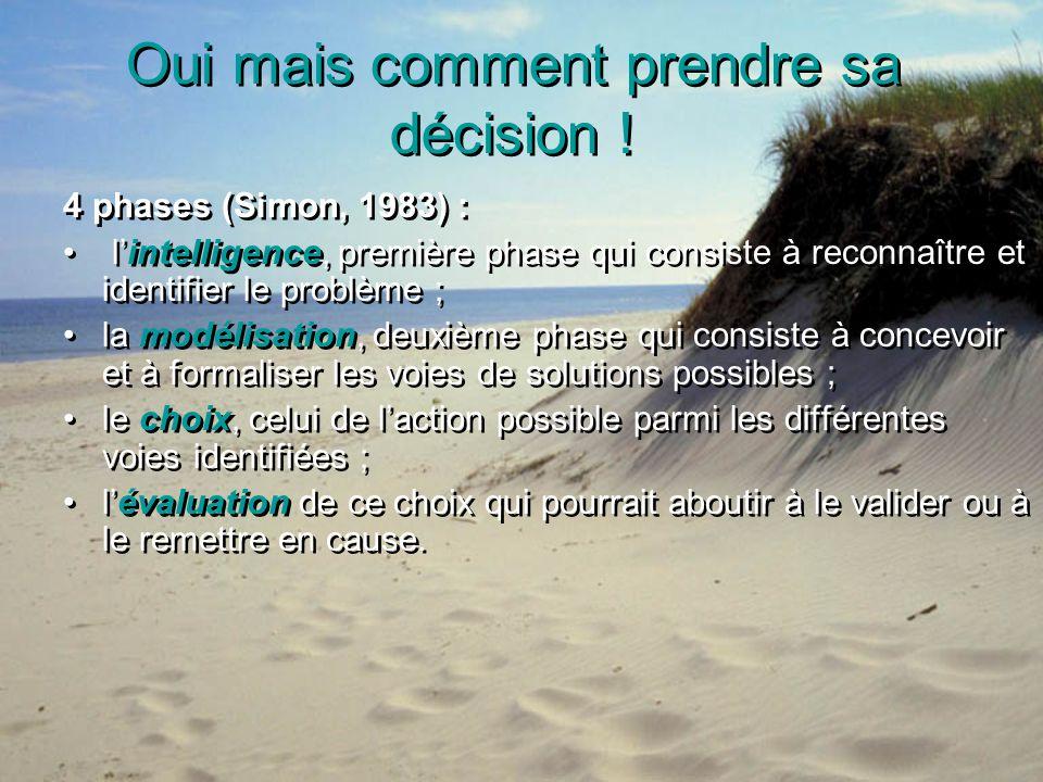 Oui mais comment prendre sa décision ! 4 phases (Simon, 1983) : lintelligence, première phase qui consiste à reconnaître et identifier le problème ; l