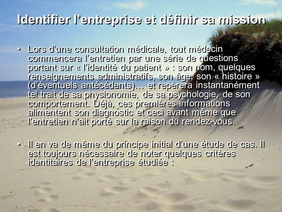 Identifier lentreprise et définir sa mission Lors dune consultation médicale, tout médecin commencera lentretien par une série de questions portant su