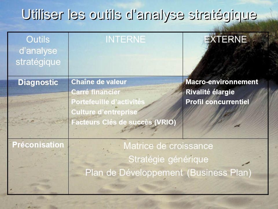 Utiliser les outils danalyse stratégique Outils danalyse stratégique INTERNEEXTERNE Diagnostic Chaîne de valeur Carré financier Portefeuille dactivité