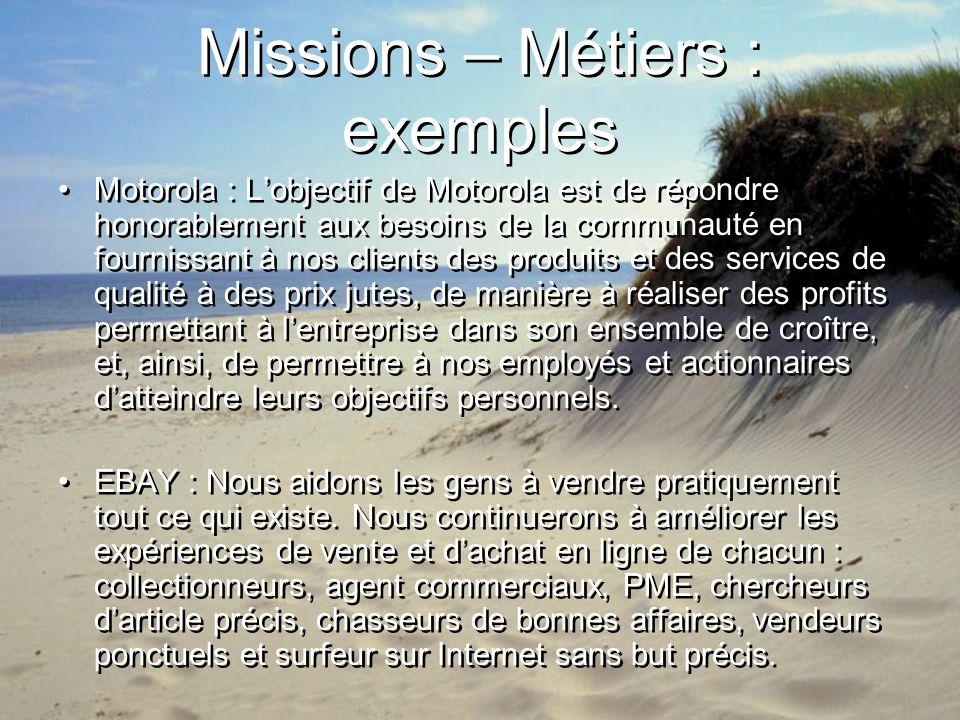 Missions – Métiers : exemples Motorola : Lobjectif de Motorola est de répondre honorablement aux besoins de la communauté en fournissant à nos clients