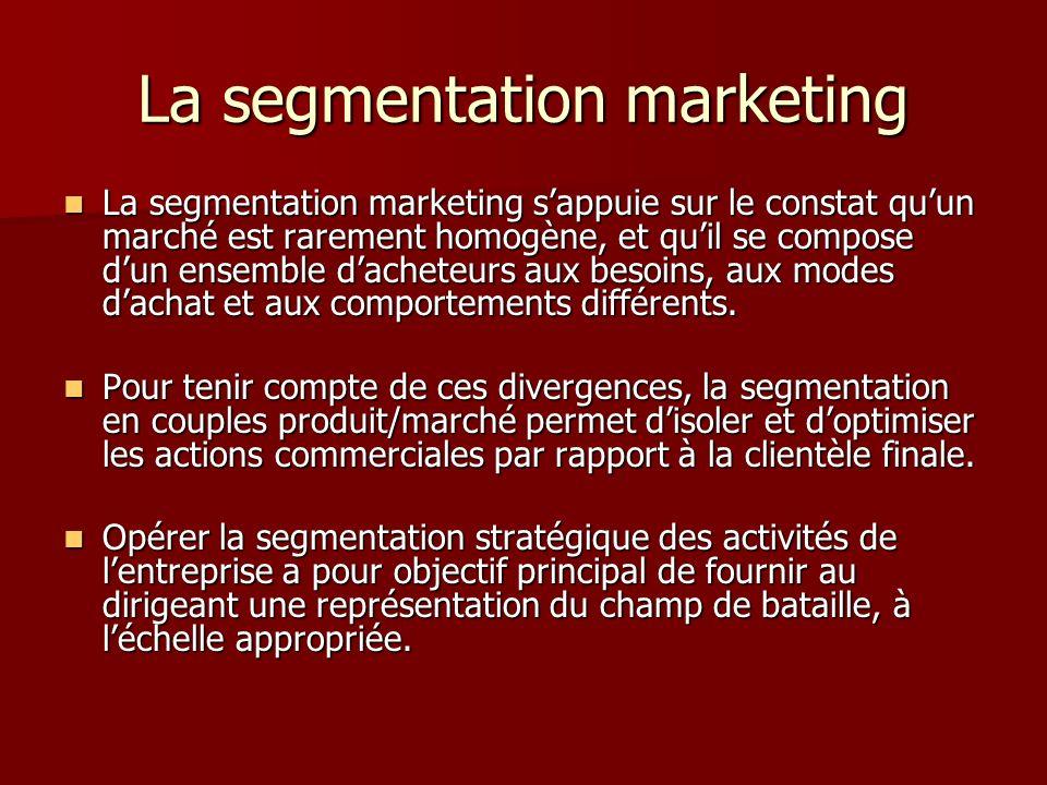 La segmentation marketing La segmentation marketing sappuie sur le constat quun marché est rarement homogène, et quil se compose dun ensemble dacheteu