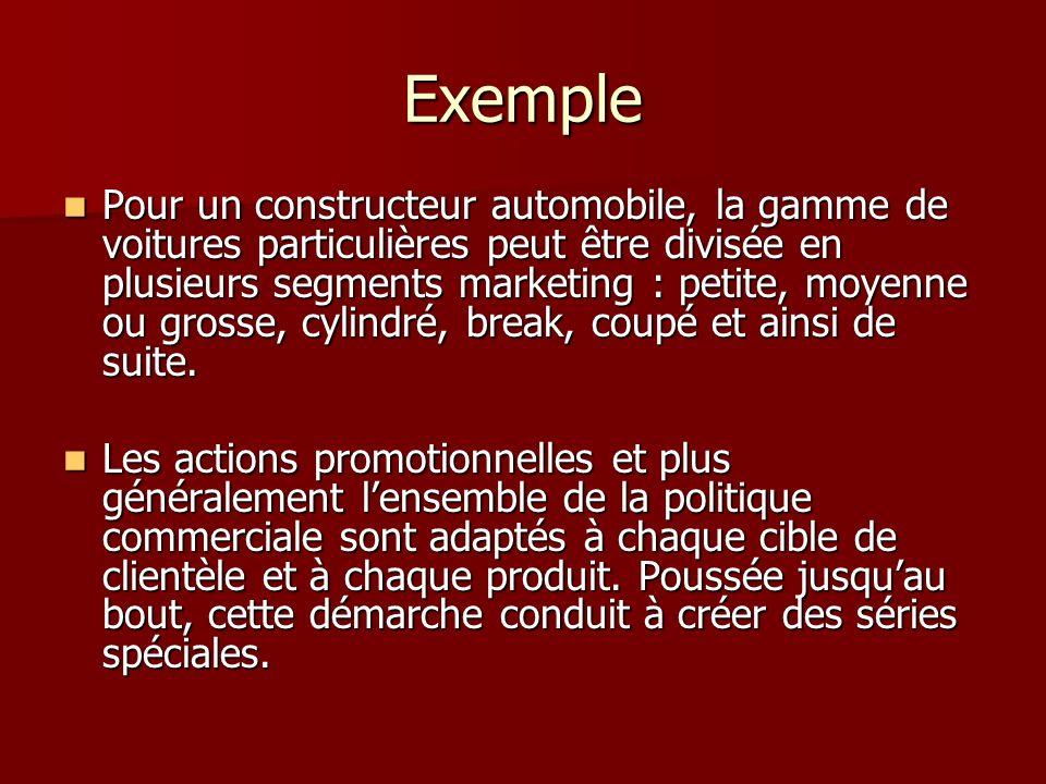 Exemple Pour un constructeur automobile, la gamme de voitures particulières peut être divisée en plusieurs segments marketing : petite, moyenne ou gro