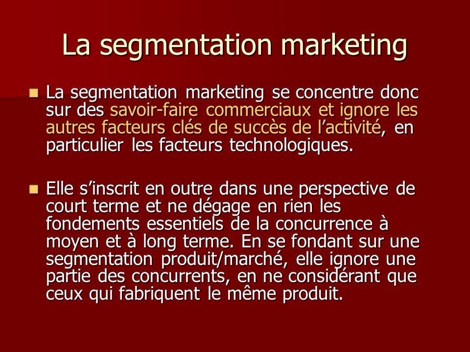 La segmentation marketing La segmentation marketing se concentre donc sur des savoir-faire commerciaux et ignore les autres facteurs clés de succès de