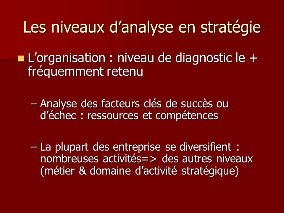 Les niveaux danalyse en stratégie Lorganisation : niveau de diagnostic le + fréquemment retenu Lorganisation : niveau de diagnostic le + fréquemment r