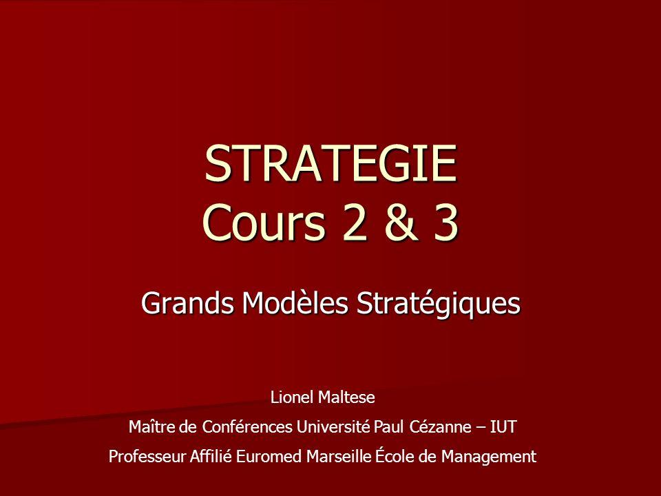 STRATEGIE Cours 2 & 3 Grands Modèles Stratégiques Lionel Maltese Maître de Conférences Université Paul Cézanne – IUT Professeur Affilié Euromed Marsei