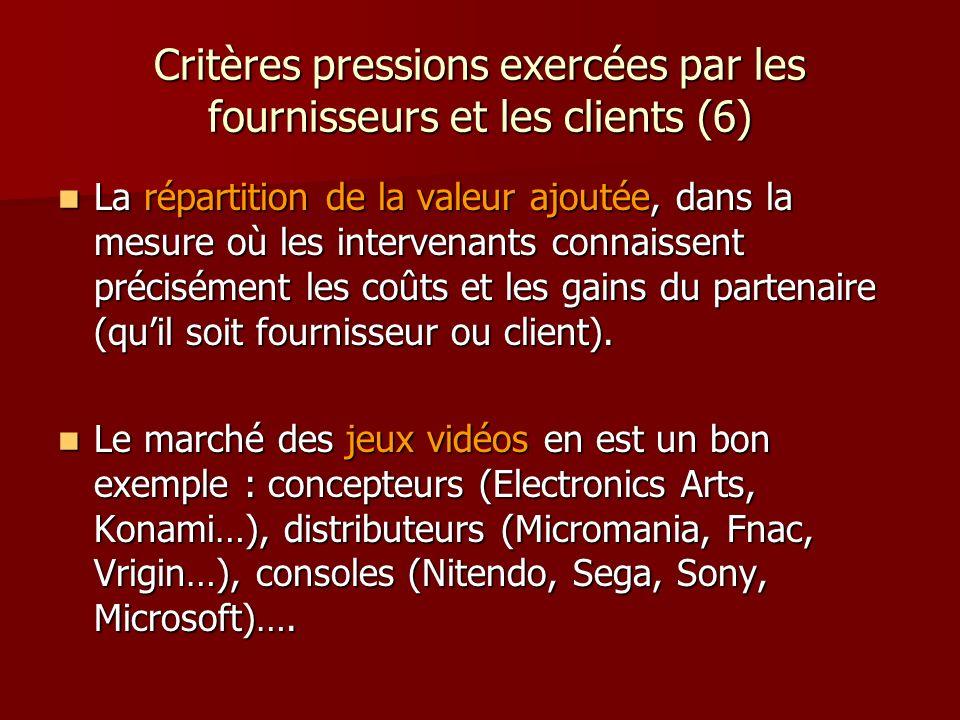 Critères pressions exercées par les fournisseurs et les clients (6) La répartition de la valeur ajoutée, dans la mesure où les intervenants connaissen