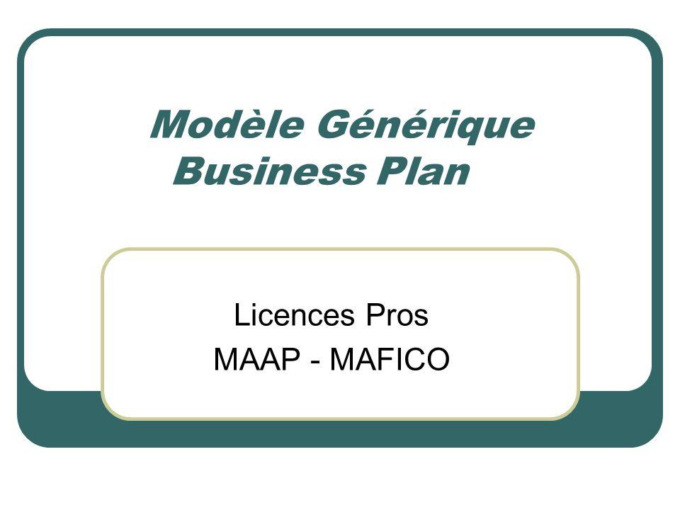 Modèle Générique Business Plan Licences Pros MAAP - MAFICO