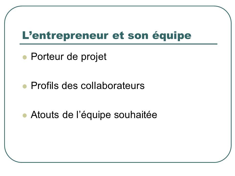 Lentrepreneur et son équipe Porteur de projet Profils des collaborateurs Atouts de léquipe souhaitée