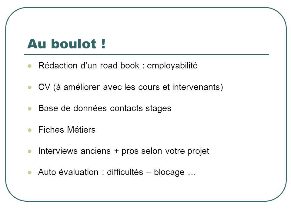Au boulot ! Rédaction dun road book : employabilité CV (à améliorer avec les cours et intervenants) Base de données contacts stages Fiches Métiers Int