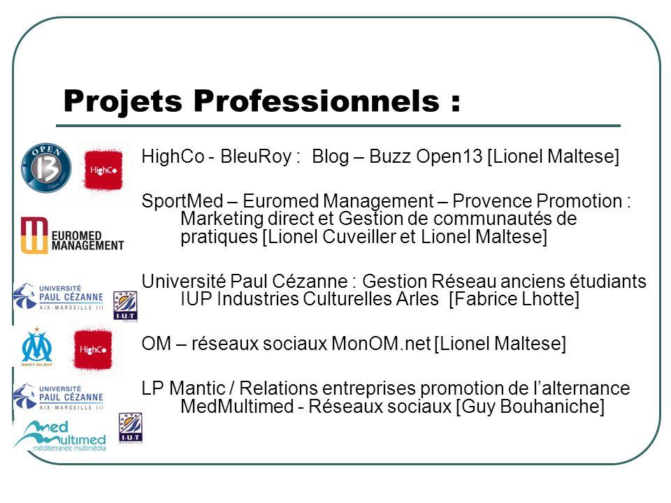 Projets Professionnels : HighCo - BleuRoy : Blog – Buzz Open13 [Lionel Maltese] SportMed – Euromed Management – Provence Promotion : Marketing direct