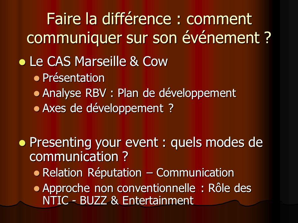 Faire la différence : comment communiquer sur son événement ? Le CAS Marseille & Cow Le CAS Marseille & Cow Présentation Présentation Analyse RBV : Pl
