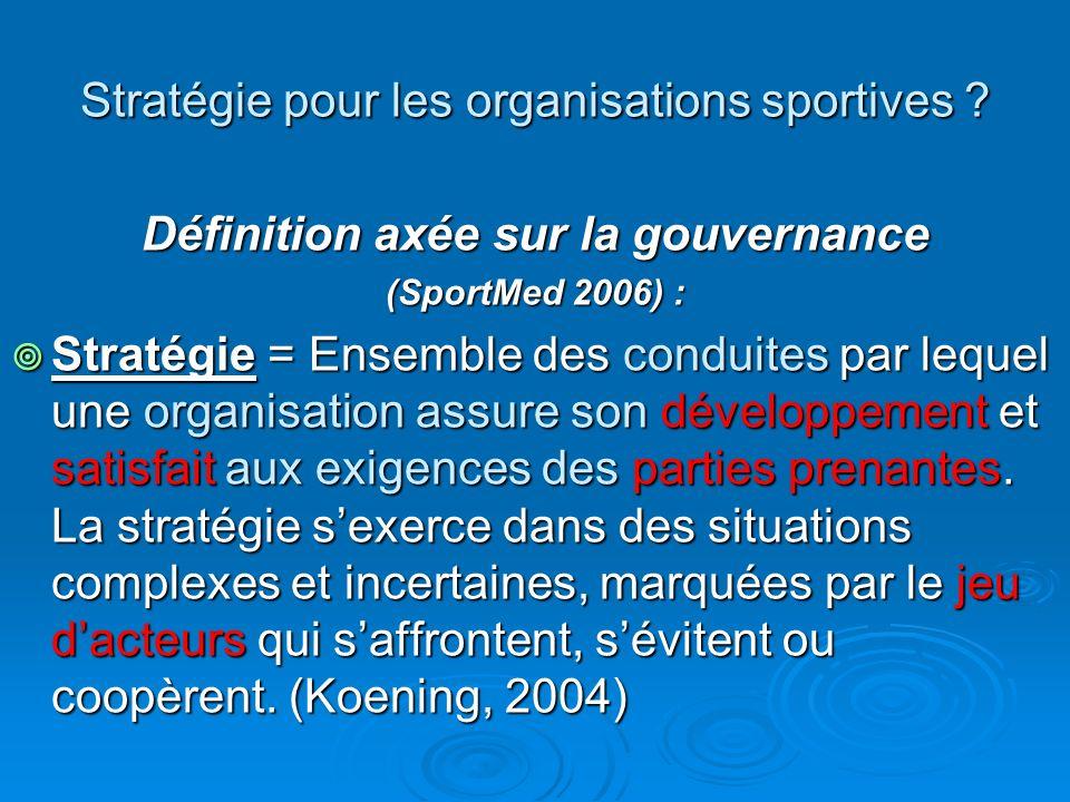 Stratégie pour les organisations sportives ? Définition axée sur la gouvernance (SportMed 2006) : Stratégie = Ensemble des conduites par lequel une or