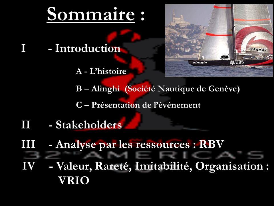 Sommaire : I - Introduction A - Lhistoire B – Alinghi (Société Nautique de Genève) C – Présentation de lévénement II - Stakeholders IV - Valeur, Raret