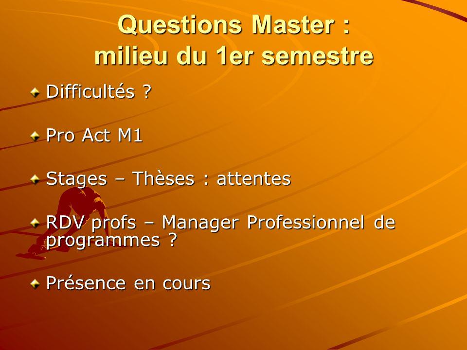 Questions Master : milieu du 1er semestre Difficultés ? Pro Act M1 Stages – Thèses : attentes RDV profs – Manager Professionnel de programmes ? Présen