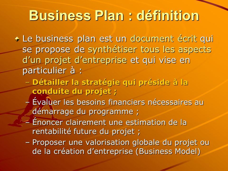 Business Plan : définition Le business plan est un document écrit qui se propose de synthétiser tous les aspects dun projet dentreprise et qui vise en