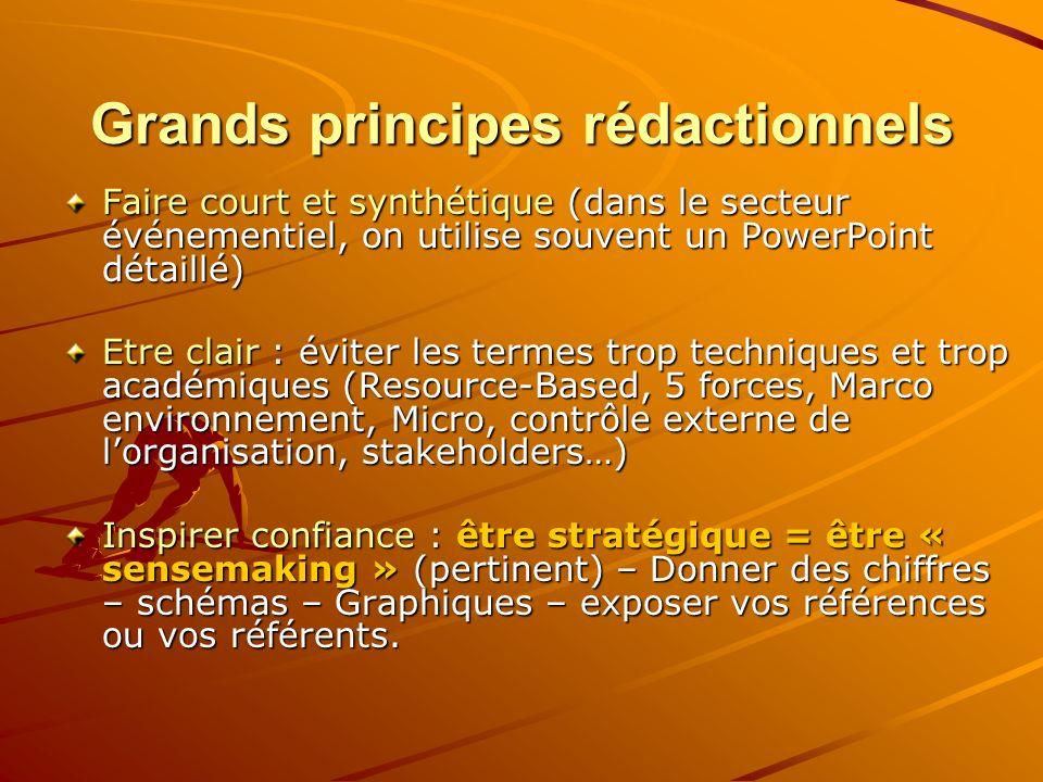 Grands principes rédactionnels Faire court et synthétique (dans le secteur événementiel, on utilise souvent un PowerPoint détaillé) Etre clair : évite