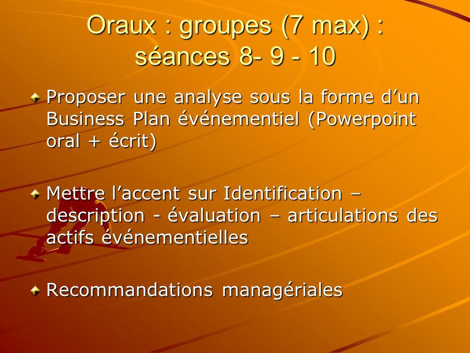 Oraux : groupes (7 max) : séances 8- 9 - 10 Proposer une analyse sous la forme dun Business Plan événementiel (Powerpoint oral + écrit) Mettre laccent