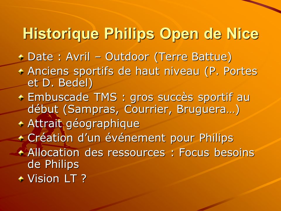 Historique Philips Open de Nice Date : Avril – Outdoor (Terre Battue) Anciens sportifs de haut niveau (P. Portes et D. Bedel) Embuscade TMS : gros suc