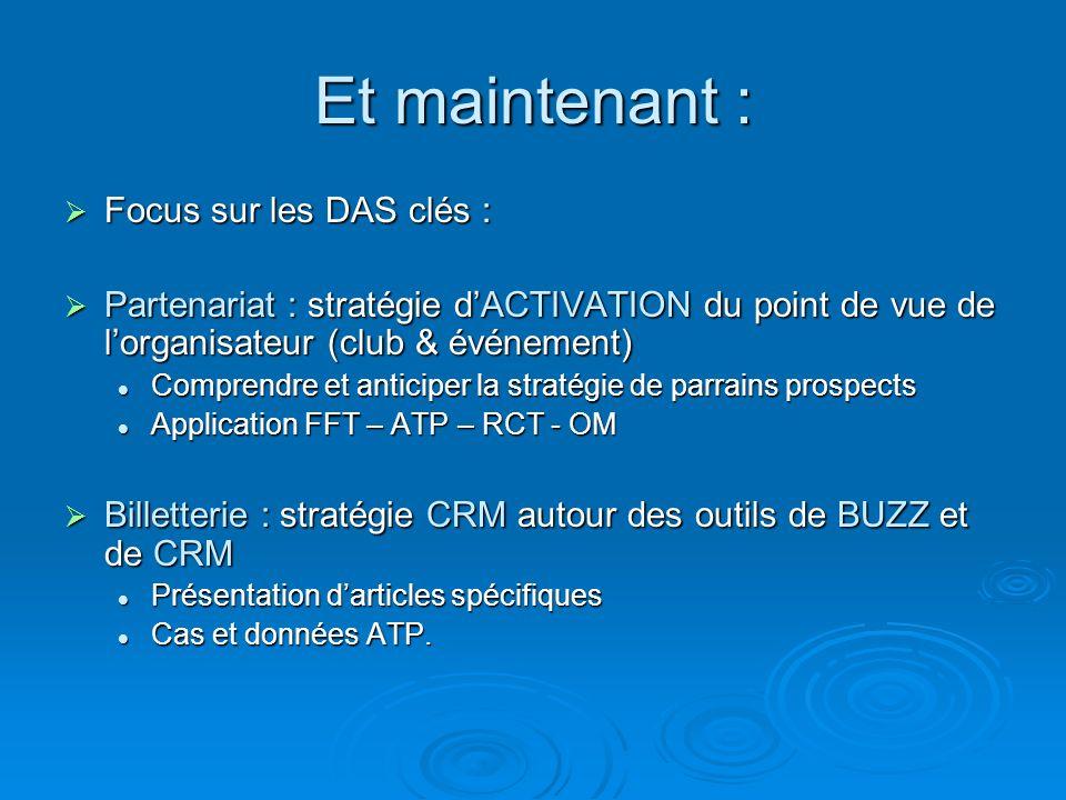 Et maintenant : Focus sur les DAS clés : Focus sur les DAS clés : Partenariat : stratégie dACTIVATION du point de vue de lorganisateur (club & événeme