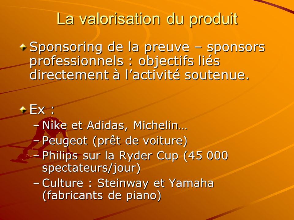 La valorisation du produit Sponsoring de la preuve – sponsors professionnels : objectifs liés directement à lactivité soutenue. Ex : –Nike et Adidas,