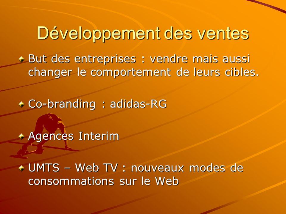 Développement des ventes But des entreprises : vendre mais aussi changer le comportement de leurs cibles. Co-branding : adidas-RG Agences Interim UMTS
