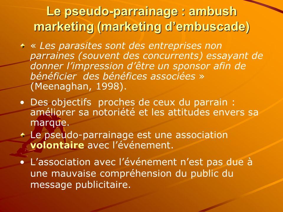 Le pseudo-parrainage : ambush marketing (marketing dembuscade) « Les parasites sont des entreprises non parraines (souvent des concurrents) essayant d