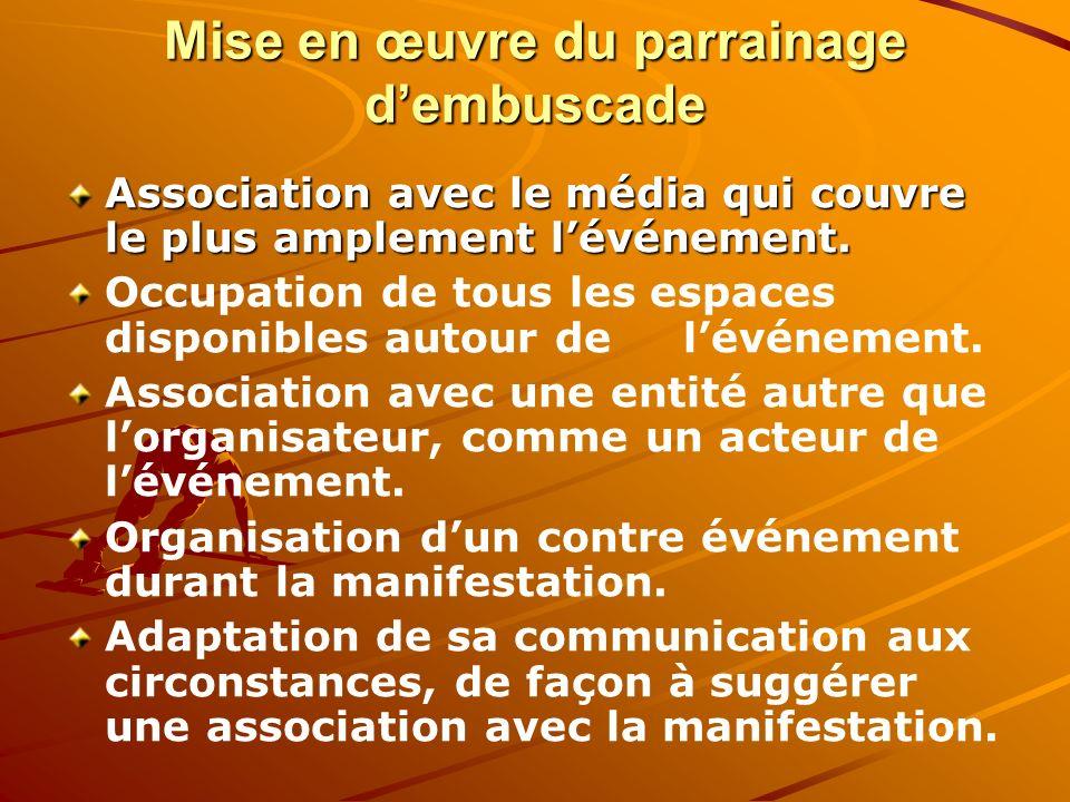 Mise en œuvre du parrainage dembuscade Association avec le média qui couvre le plus amplement lévénement. Occupation de tous les espaces disponibles a