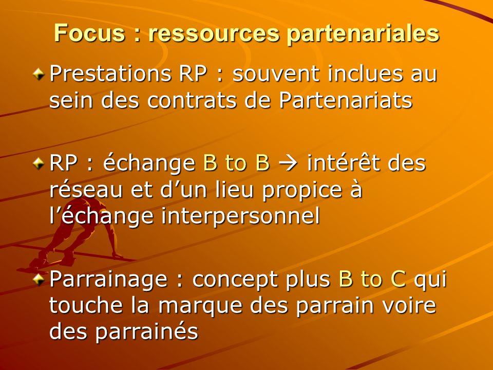 Focus : ressources partenariales Prestations RP : souvent inclues au sein des contrats de Partenariats RP : échange B to B intérêt des réseau et dun l