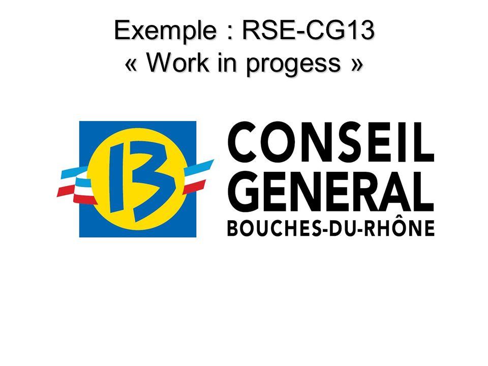 Exemple : RSE-CG13 « Work in progess »