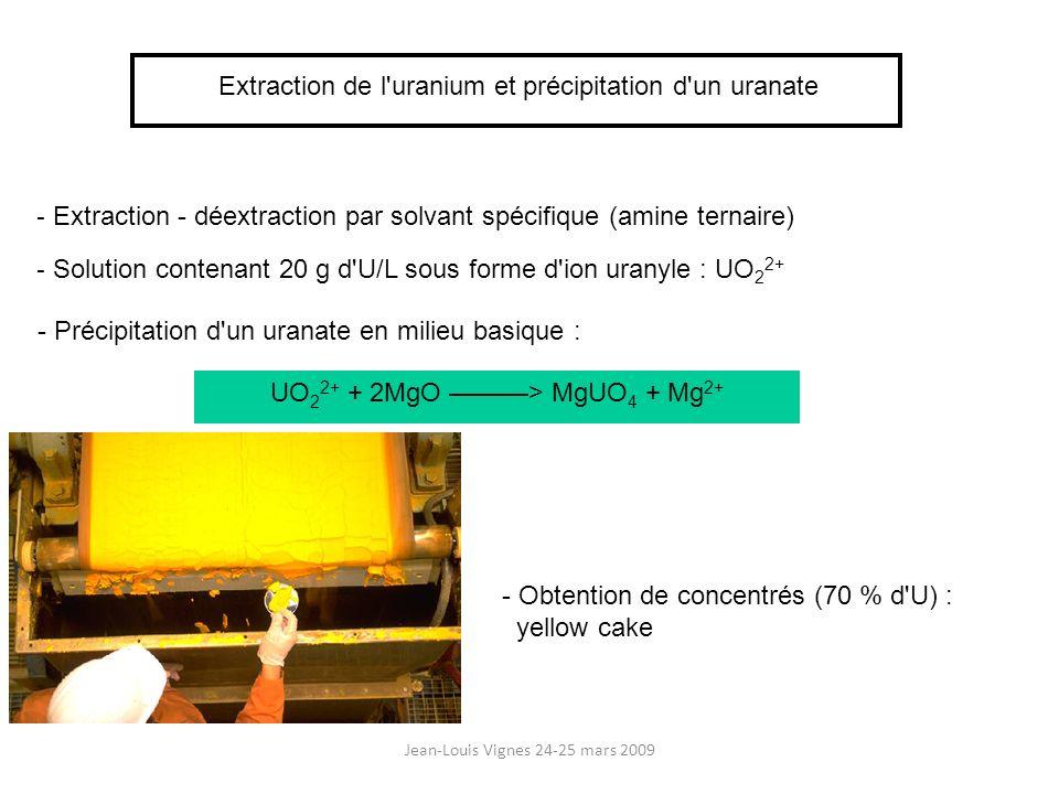 Jean-Louis Vignes 24-25 mars 2009 Extraction de l'uranium et précipitation d'un uranate - Extraction - déextraction par solvant spécifique (amine tern