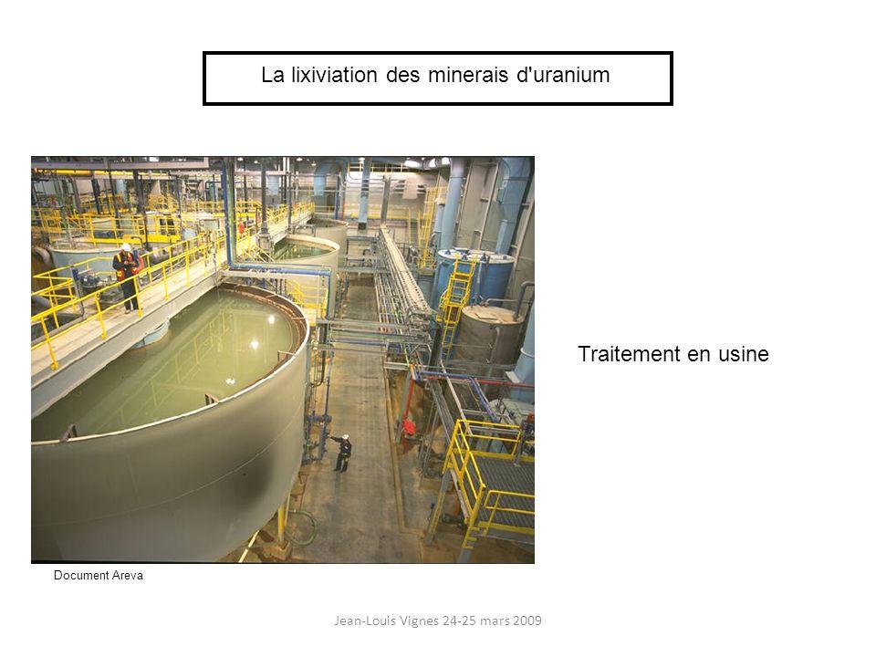 Jean-Louis Vignes 24-25 mars 2009 La lixiviation des minerais d uranium - Tas de 5 000 à 15 000 t sur 3 à 3,5 m de haut - Lixiviation par acide sulfurique pH 1 à 3 - Recyclage solution pendant 3 mois - Rendement : 50 à 85 % - Donne 2,5 % de la production