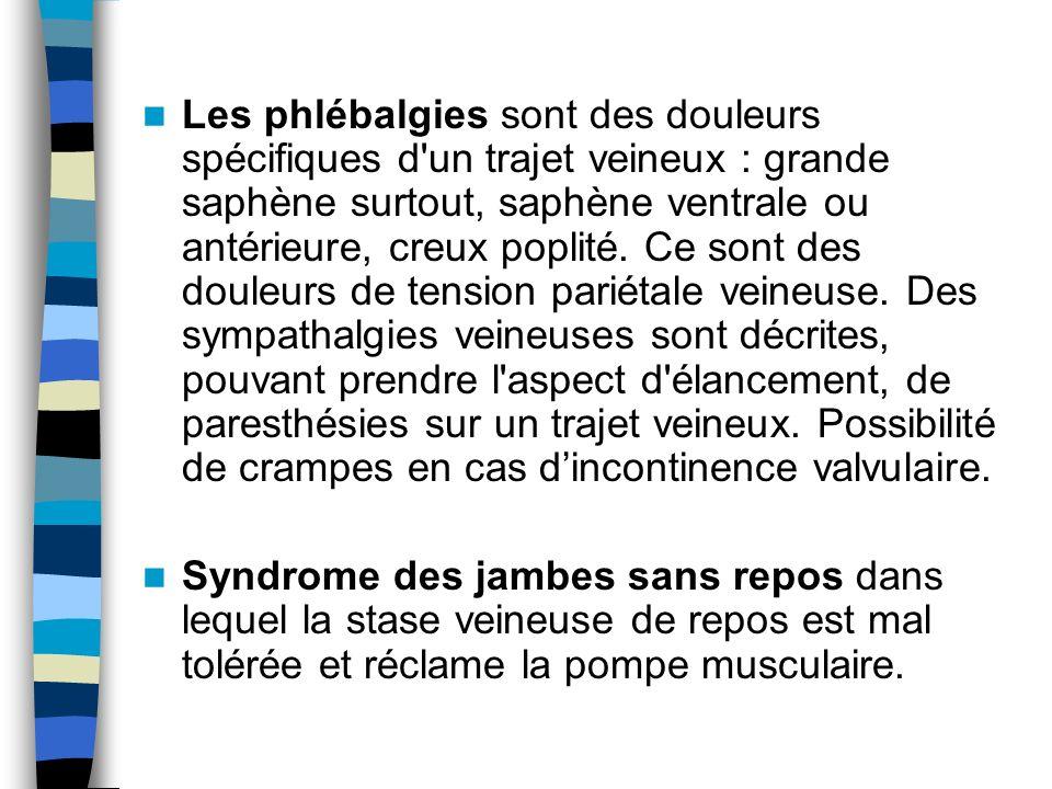 Les phlébalgies sont des douleurs spécifiques d'un trajet veineux : grande saphène surtout, saphène ventrale ou antérieure, creux poplité. Ce sont des