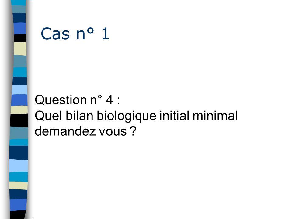 Cas n° 1 Question n° 4 : Quel bilan biologique initial minimal demandez vous ?