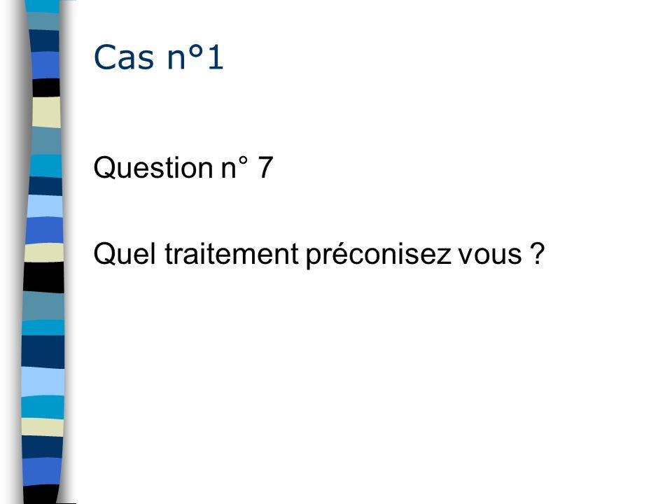 Cas n°1 Question n° 7 Quel traitement préconisez vous ?