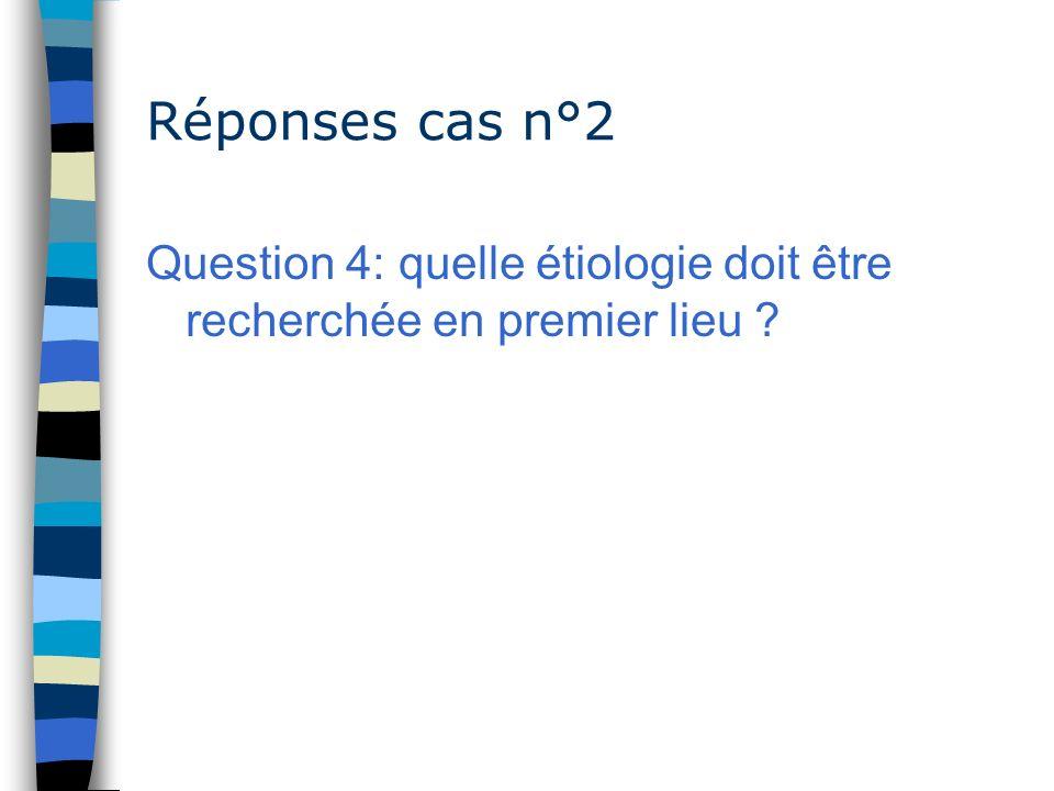 Réponses cas n°2 Question 4: quelle étiologie doit être recherchée en premier lieu ?