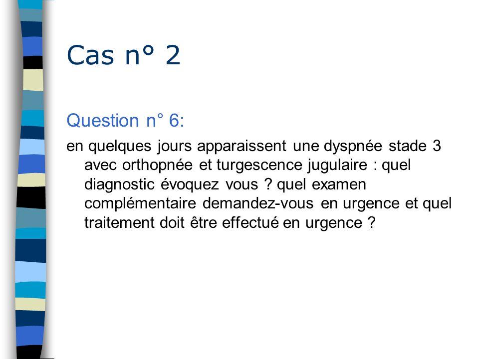 Cas n° 2 Question n° 6: en quelques jours apparaissent une dyspnée stade 3 avec orthopnée et turgescence jugulaire : quel diagnostic évoquez vous ? qu