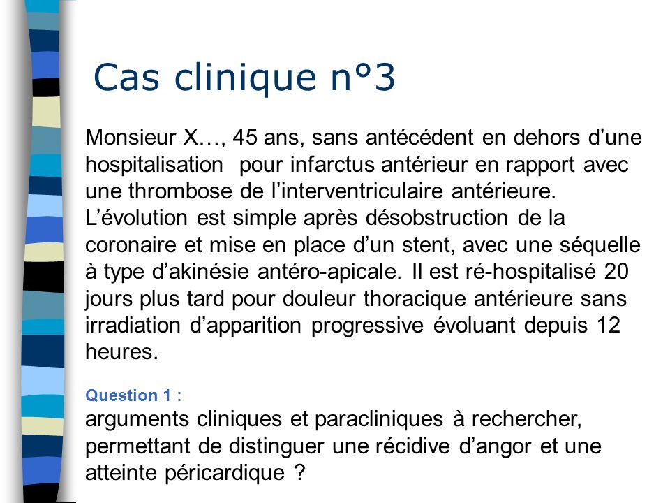 Cas clinique n°3 Monsieur X…, 45 ans, sans antécédent en dehors dune hospitalisation pour infarctus antérieur en rapport avec une thrombose de linterv