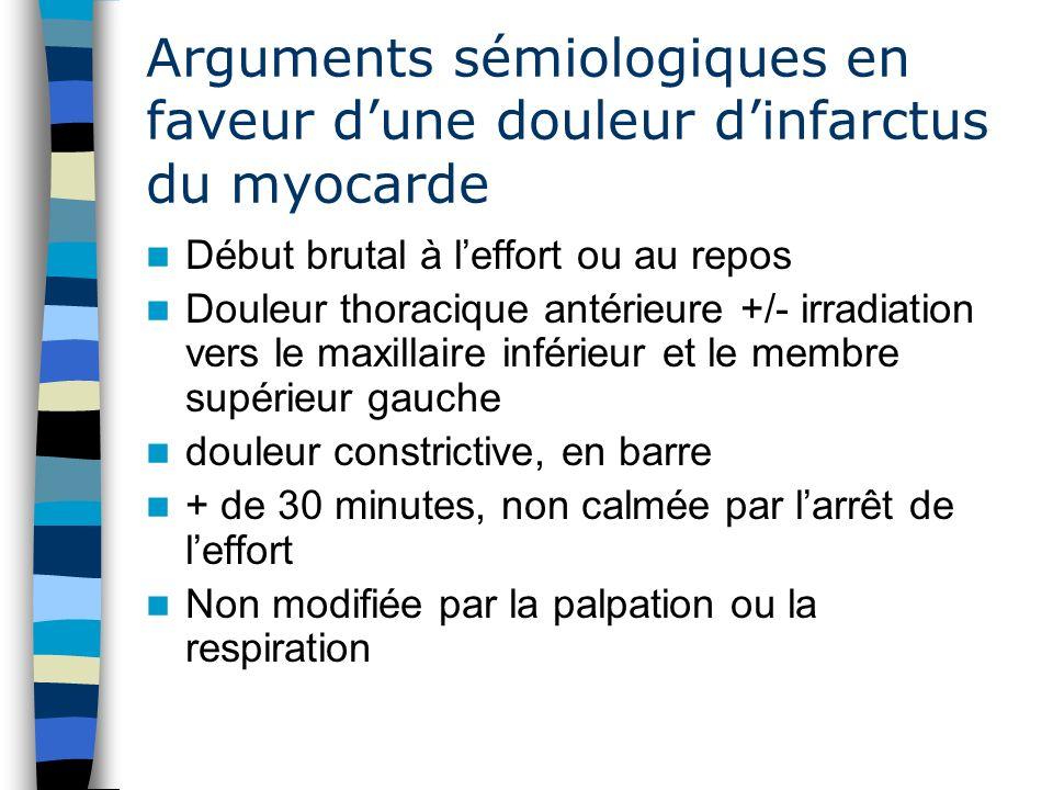 Cas n° 3 / Réponse Question 1 modulation de la douleur thoracique par la respiration frottement péricardique Fébricule syndrome inflammatoire anomalies ECG stables / ECG de référence