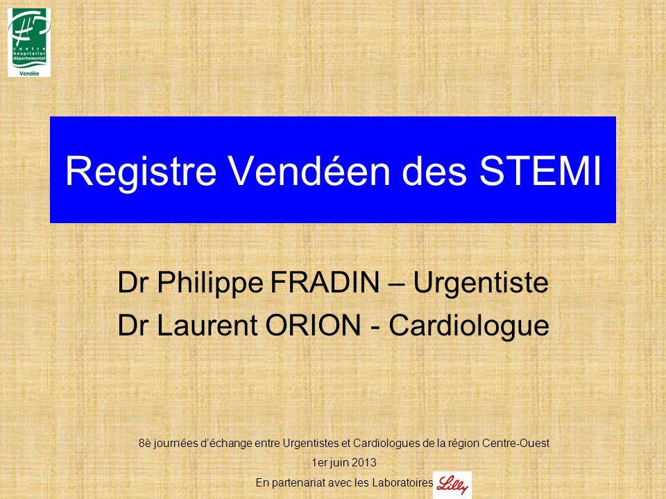 Registre Vendéen des STEMI Dr Philippe FRADIN – Urgentiste Dr Laurent ORION - Cardiologue 8è journées déchange entre Urgentistes et Cardiologues de la