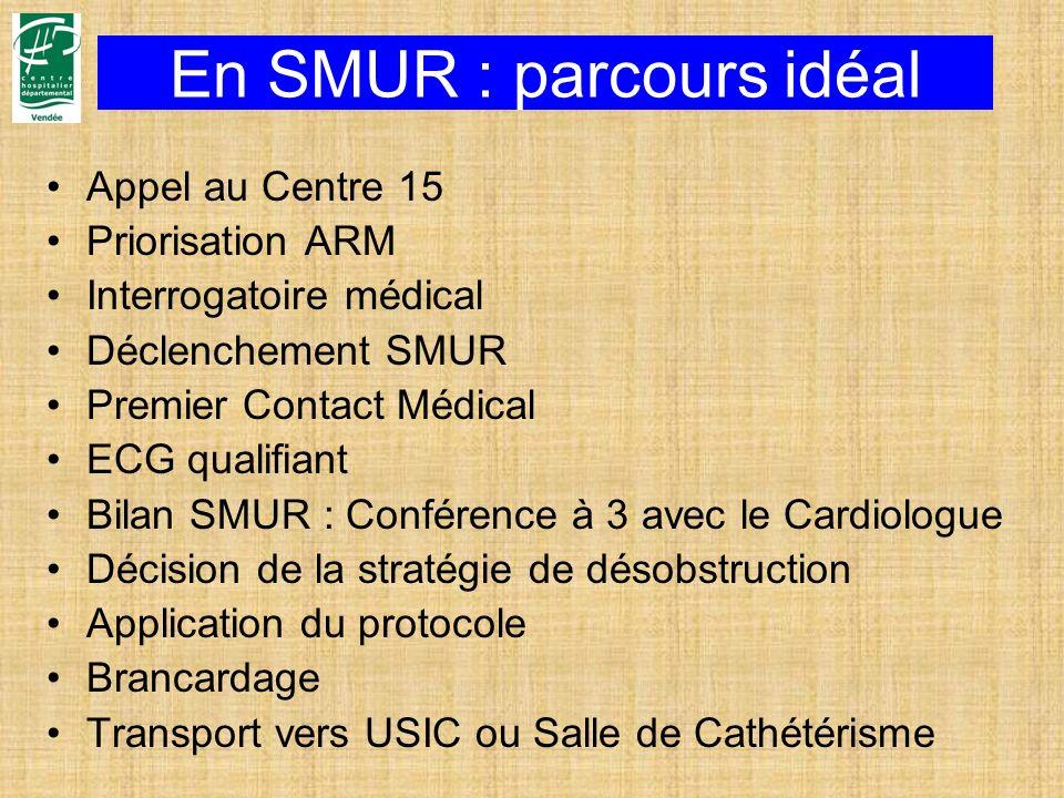 En SMUR : parcours idéal Appel au Centre 15 Priorisation ARM Interrogatoire médical Déclenchement SMUR Premier Contact Médical ECG qualifiant Bilan SM