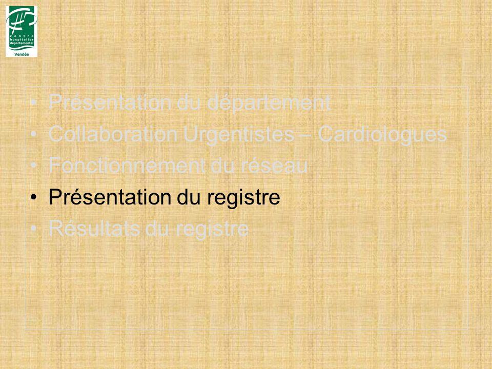 Présentation du département Collaboration Urgentistes – Cardiologues Fonctionnement du réseau Présentation du registre Résultats du registre