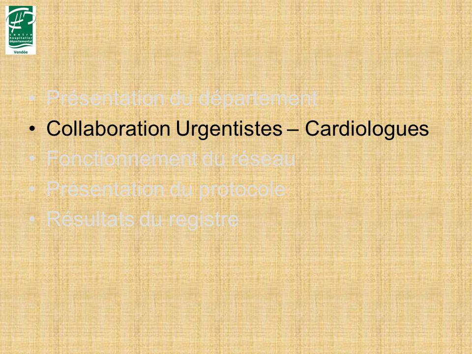 Présentation du département Collaboration Urgentistes – Cardiologues Fonctionnement du réseau Présentation du protocole Résultats du registre
