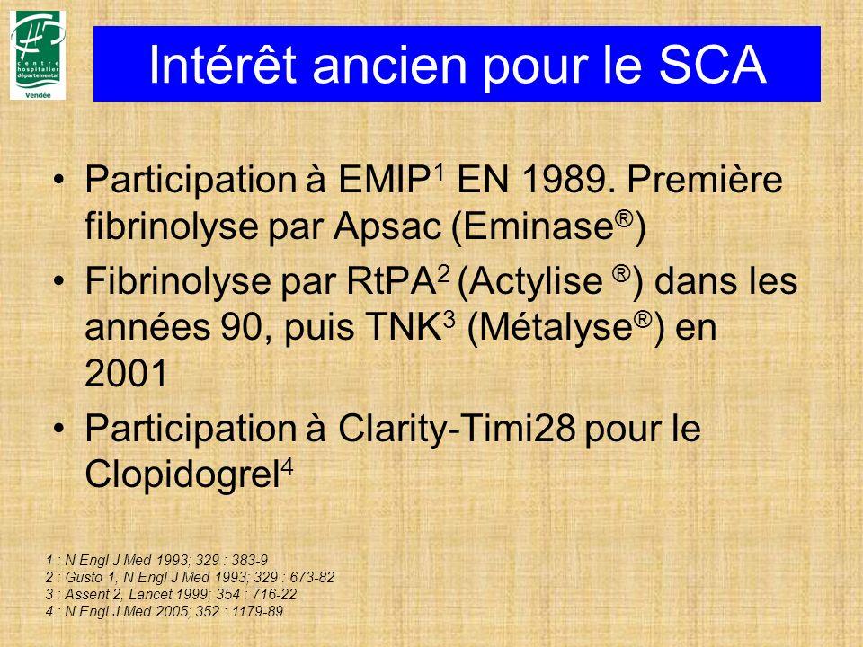 Intérêt ancien pour le SCA Participation à EMIP 1 EN 1989. Première fibrinolyse par Apsac (Eminase ® ) Fibrinolyse par RtPA 2 (Actylise ® ) dans les a