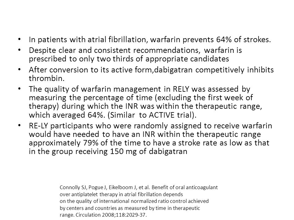 In patients with atrial fibrillation, warfarin prevents 64% of strokes. Despite clear and consistent recommendations, warfarin is prescribed to only t