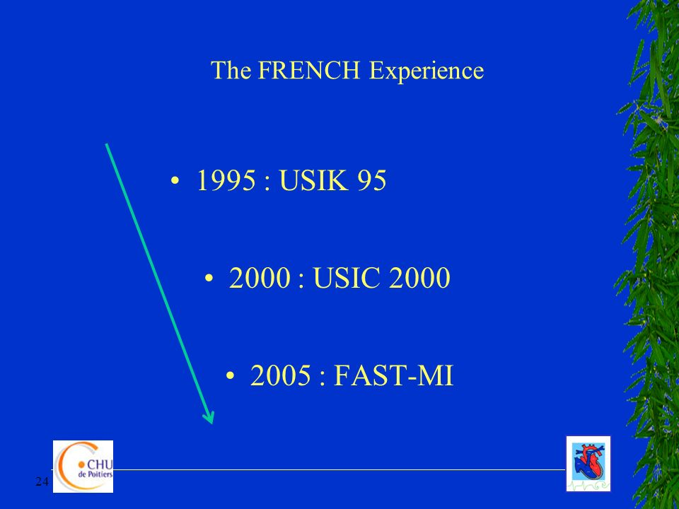24 1995 : USIK 95 2000 : USIC 2000 2005 : FAST-MI The FRENCH Experience